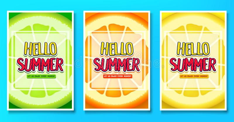 Hello Summer Let Us Enjoy Every Moment Greeting Posters with Lime, Orange and Lemon Fruit Background vector illustration