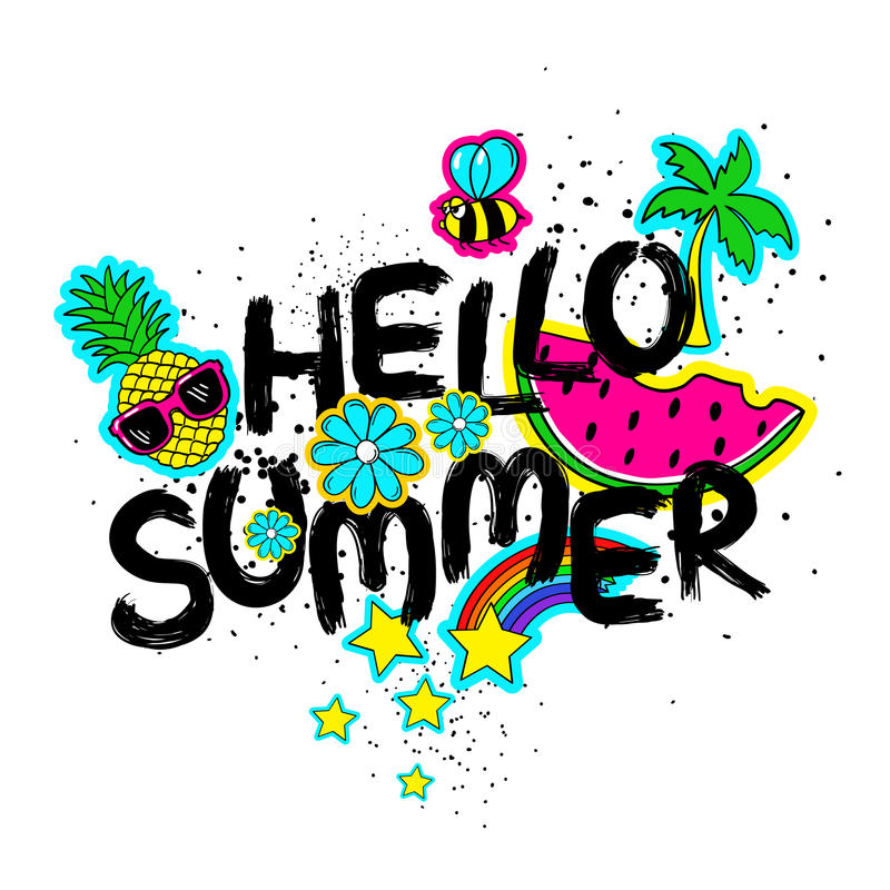 Download Hello Summer Lettering And Cartoon Stickers. Stock Vector    Illustration Of Hand, Comic