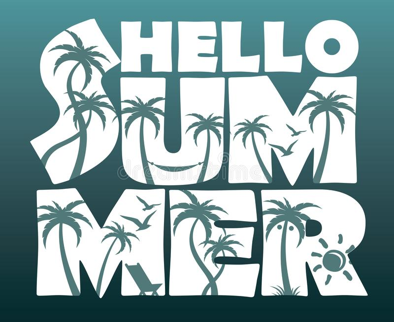 Hello summer lettering with palm trees. Emblem of hello summer lettering with palm trees isolated royalty free illustration
