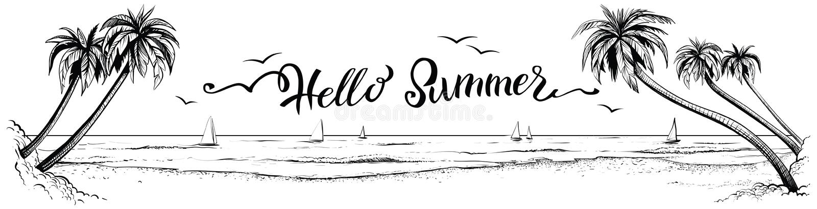 Hello summer, lettering with panoramic beach view. Vector illustration. Hello summer, lettering with panoramic beach view. Vector illustration of ocean or sea royalty free illustration