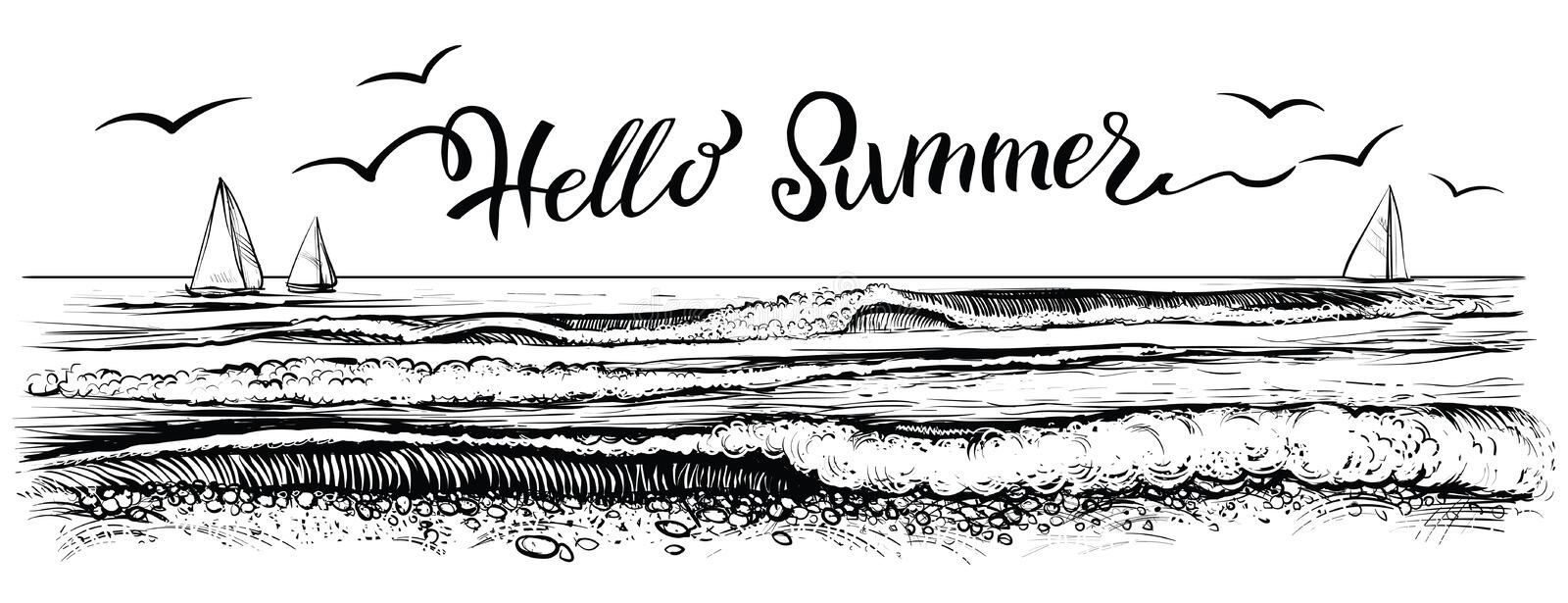Hello summer, lettering with panoramic view of ocean or sea waves and yachts. Vector illustration. stock illustration
