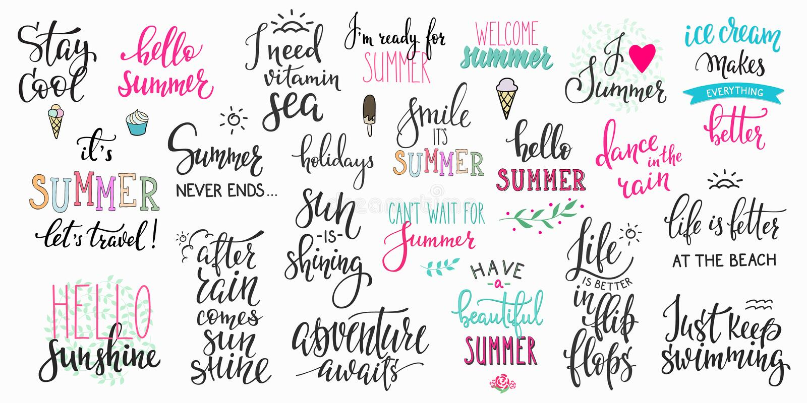 Hello summer lettering typography big set stock illustration