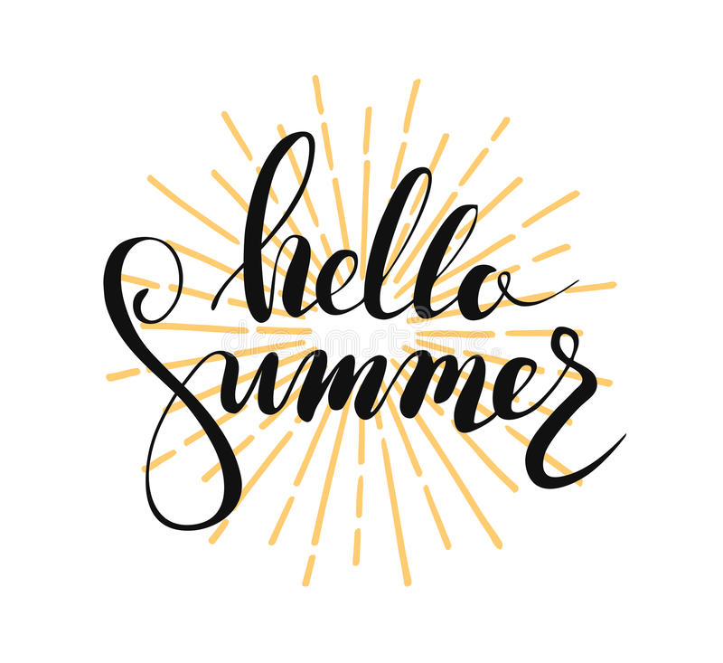 Hello summer lettering royalty free stock image