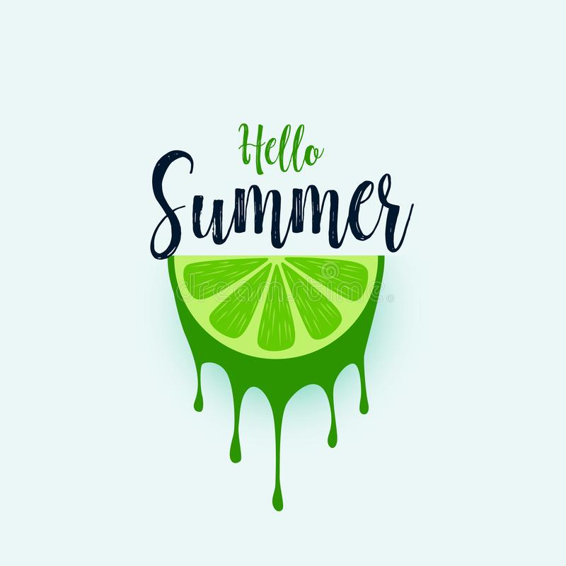 Hello summer lime fruit background vector illustration