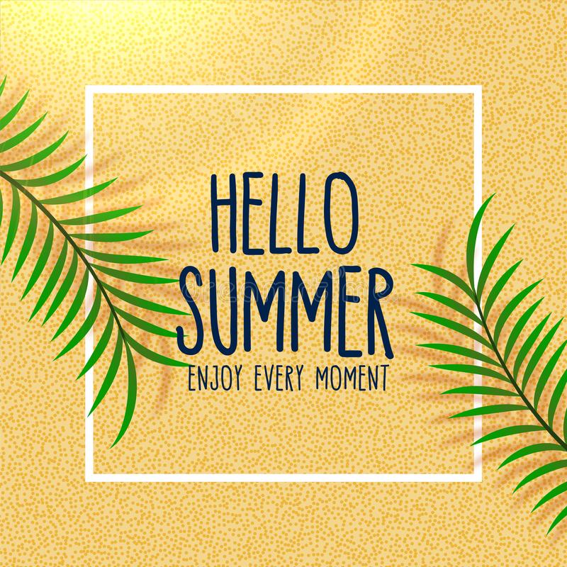 Hello summer lovely beach background with leaves shade stock illustration