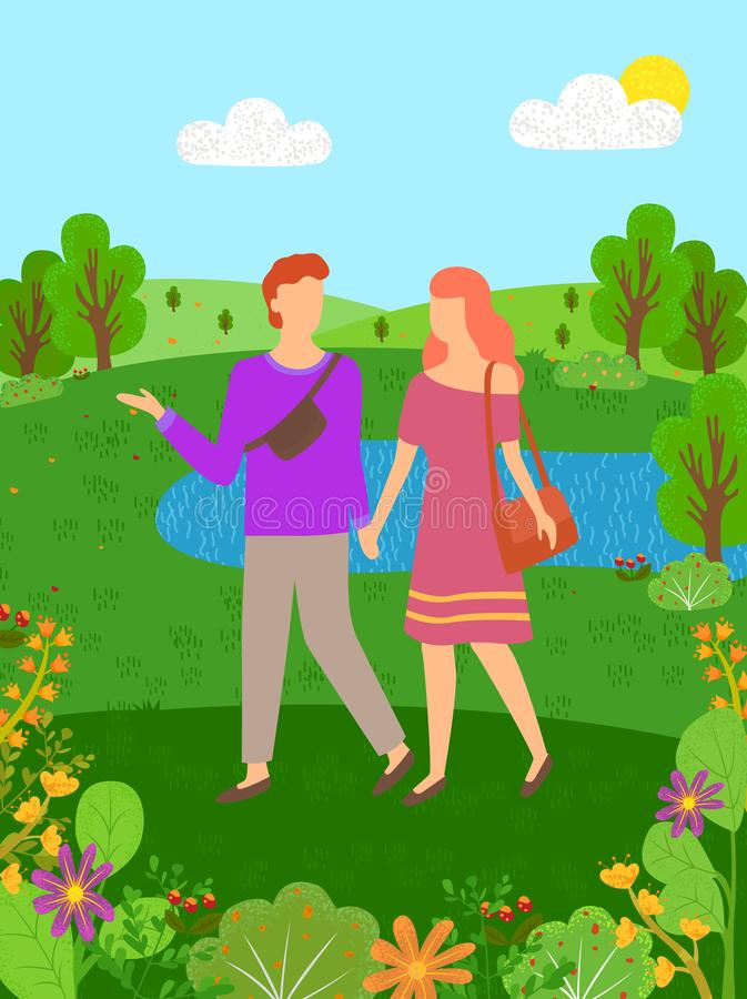 Hello Summer, Man and Woman Spend Time Together royalty free illustration
