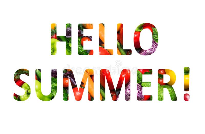 Hello summer, multi-colored text cut out of vegetables photo, the inscription on white background. Hello summer, multi-colored text cut out of vegetables photo royalty free illustration