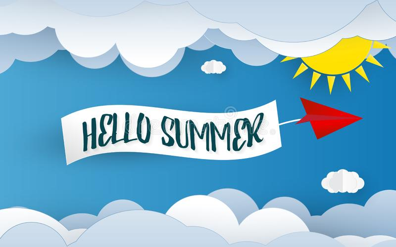 Hello summer paper art background. Blue sky and cloud element. Holiday and Vacation concept. Paper cut and Wallpaper theme. Vector. Illustration graphic design stock illustration