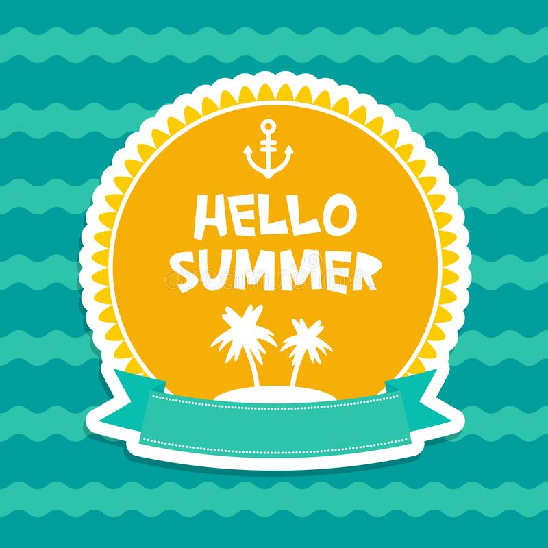 Hello Summer pastel colors card design, banner template ribbon palm island on blue waves sea ocean background, white green orange. royalty free illustration