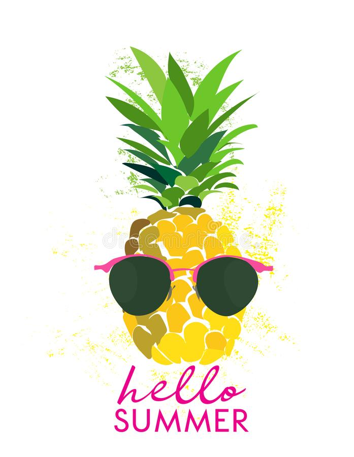 Hello summer pineapple illustration. greeting card. graphic trendy vector drawing. poster banner. royalty free illustration