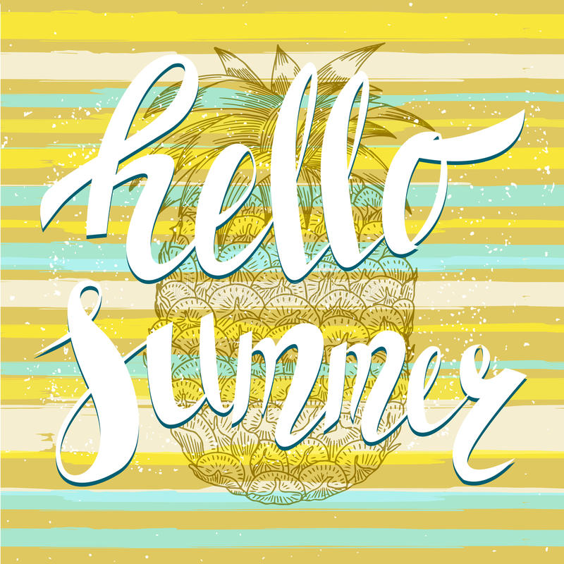 Hello summer with a pineapple. Hand written unique lettering. It can be used as a print on T-shirts and bags. Vector Illustration royalty free illustration