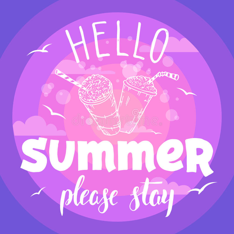Hello summer please stay party flyer vector illustration