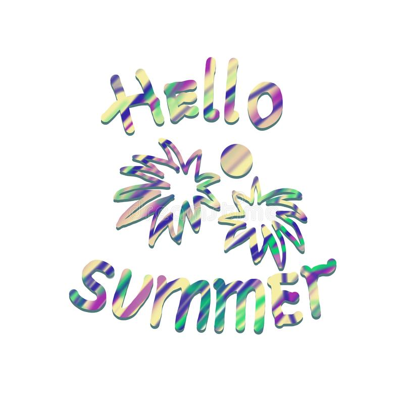 Hello summer post card with colorful lettering, palm trees, sun on white background royalty free illustration