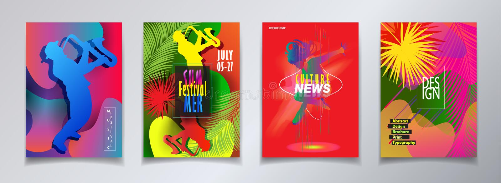 Hello Summer Music EURO festival carnival sign set. Hello Summer Festival 2020 music, jazz, pop, disco, dance, club, Holiday colorful modern poster, flyer royalty free illustration