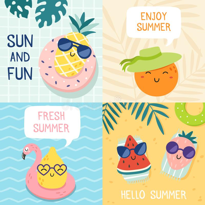 Hello summer poster. Funny fruits, pineapple in sunglasses and tropical fruit beach party banner vector illustration set royalty free illustration