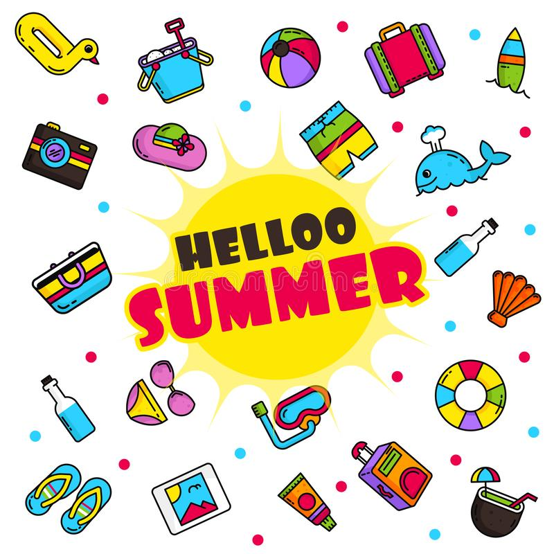 Hello Summer Poster Illustration Vector stock illustration