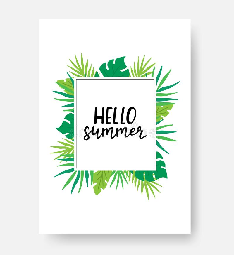 Hello summer poster with space for text. Summer poster with monstera, palm leaves and hand written phrase. Hand. Lettering inspirational typography banner stock illustration