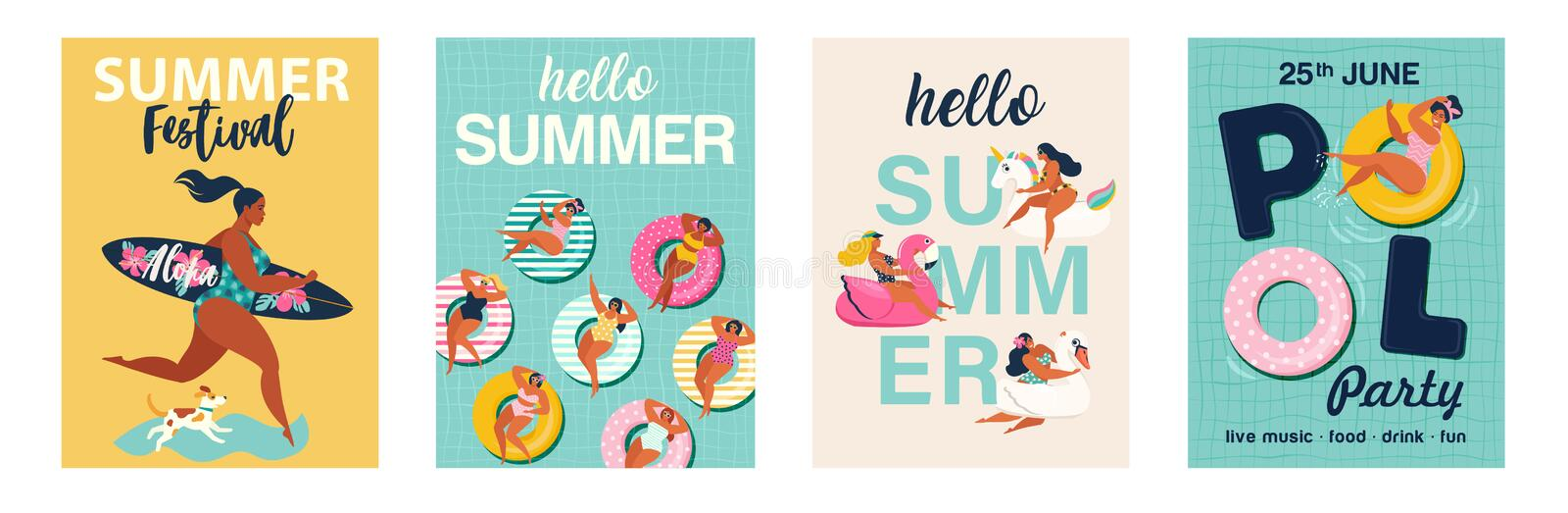 Hello summer posters in vector. Cute Retro posters set. royalty free illustration