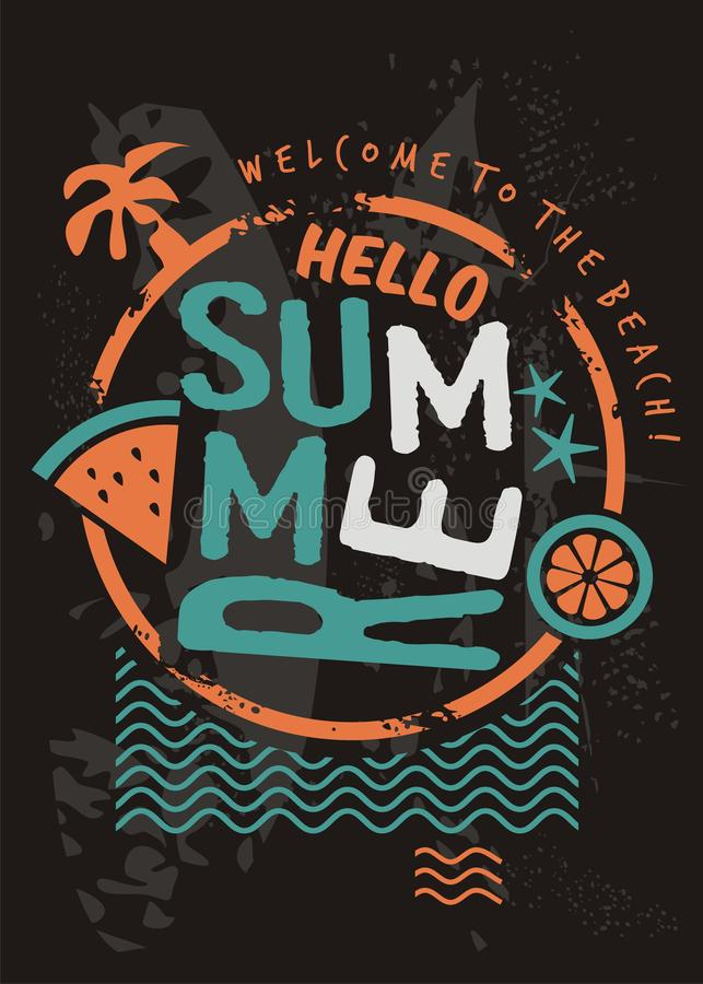 Free Hello Summer Retro T Shirt Design Template Stock Images - 140418824