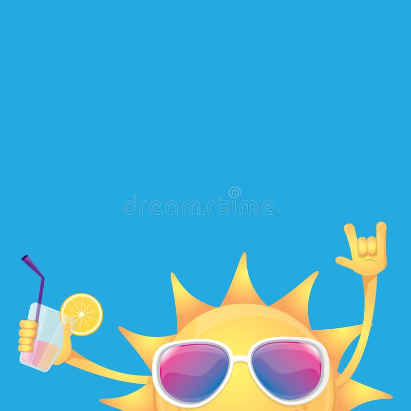 Hello summer rock n roll vector label or logo. summer cocktail party poster background with funky smiling sun character. Wearing sunglasses and holding cocktail vector illustration