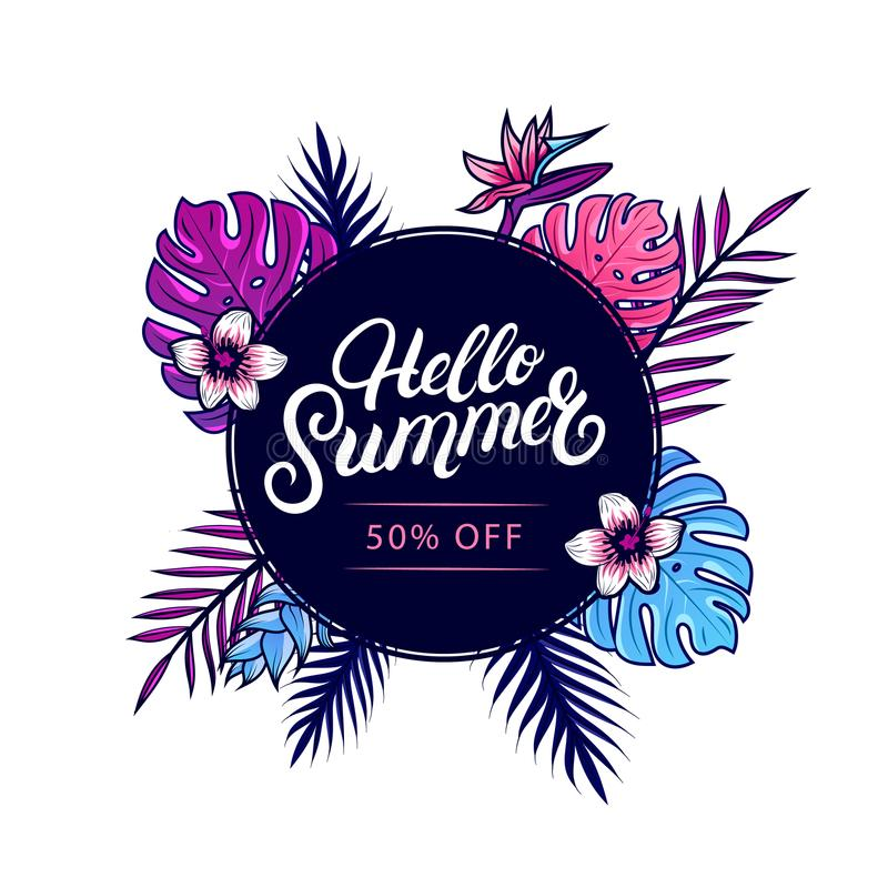 Summer Sale Background With Tropical Flowers And Beach