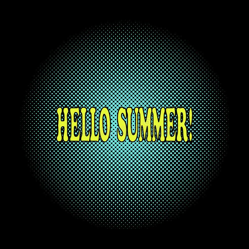 Hello summer season greeting in pop art style. Halftone, black background yellow lettering text. Vector Illustration. Hello summer season greeting. Comic text vector illustration