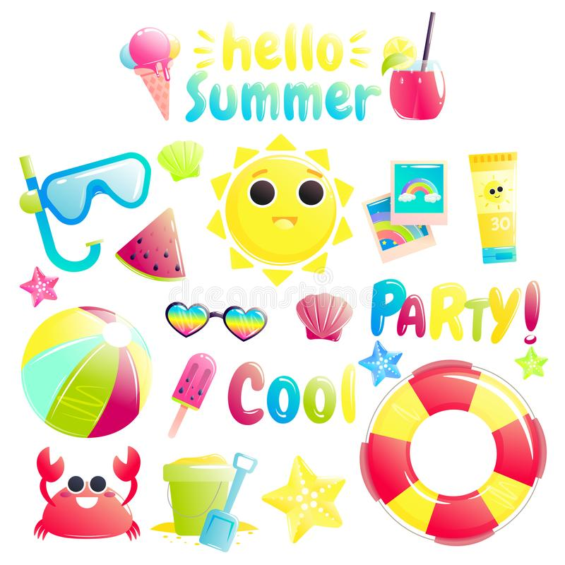 Hello summer. Set of cute offshore objects. Pretty sun and crab and watermelon and beach ball and bucket royalty free illustration