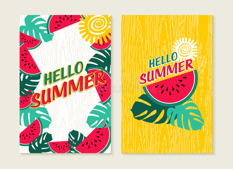 Download Hello Summer Set Of Watermelon Tropical Nature Art Stock Vector    Illustration Of Beach,
