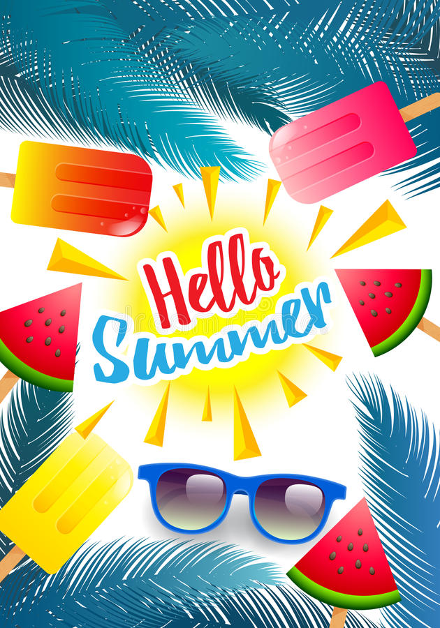 Hello Summer,Summer Poster, Flyer or Invitation Background.Summer time vector banner design with colorful elements,watermelon fr stock illustration