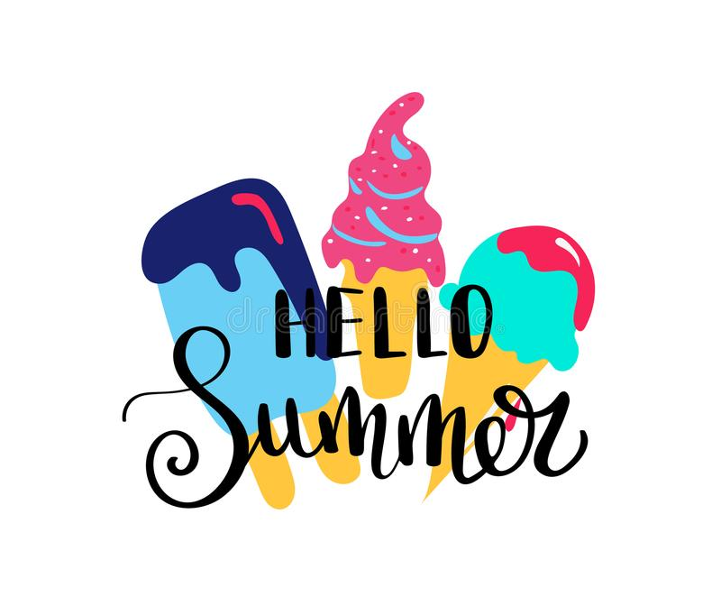 Hello Summer. Summer quote. Handwritten for holiday greeting cards. Hand drawn illustration. Handwritten lettering. Hand royalty free illustration