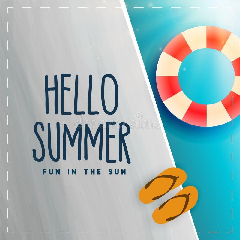 Hello summer swimminh pool background stock illustration