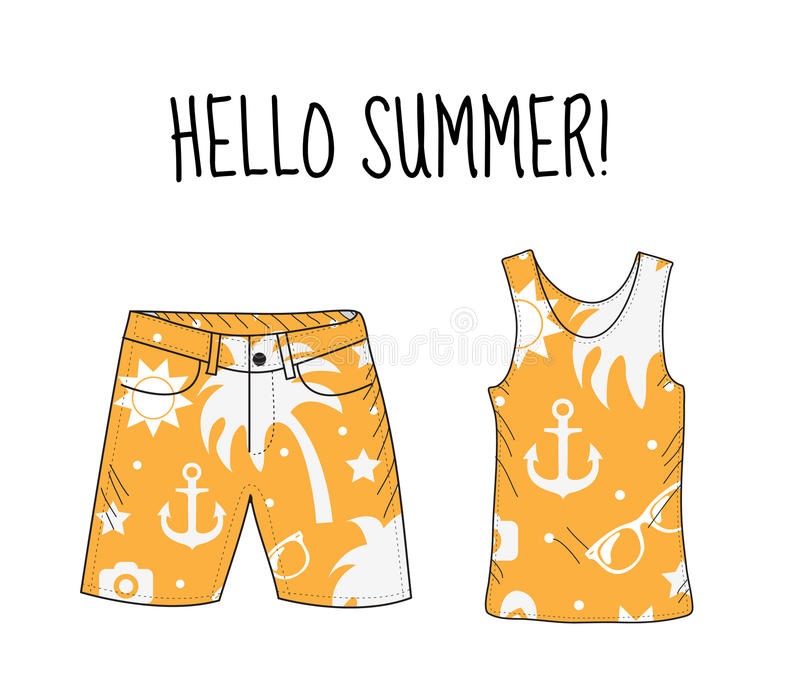 Hello summer T-shirt and shorts with beach print. Summer, beach theme. T-shirt and shorts, summer clothes. Vector illustration. royalty free illustration