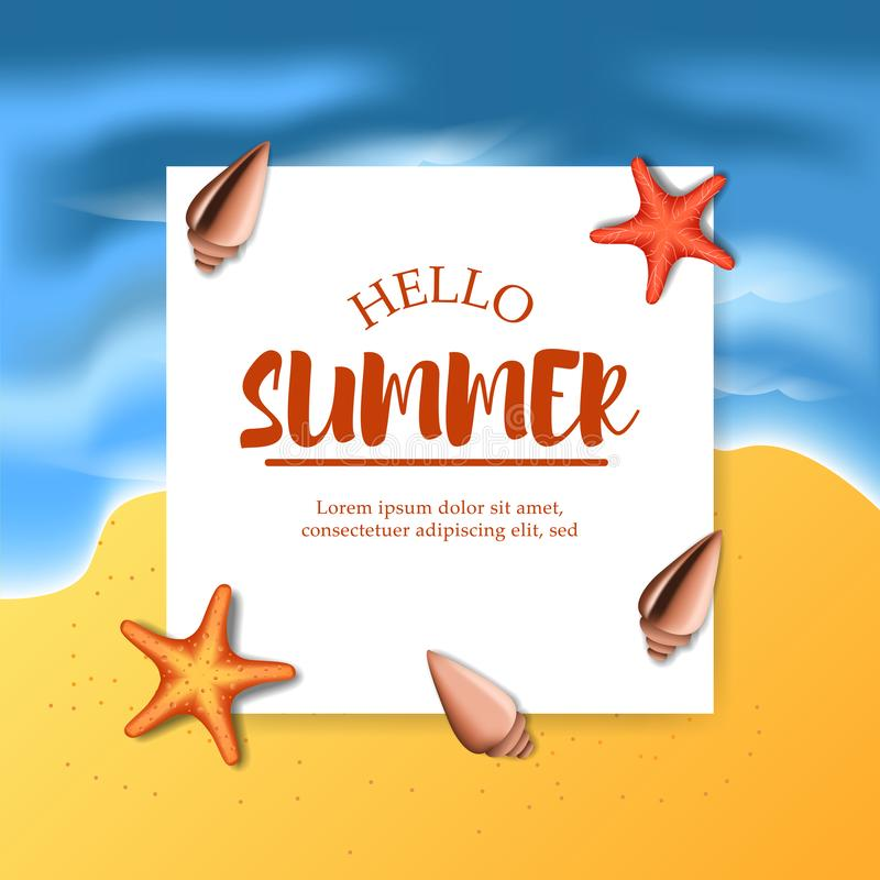 Hello Summer Beach Banner Template With Sand Tropical