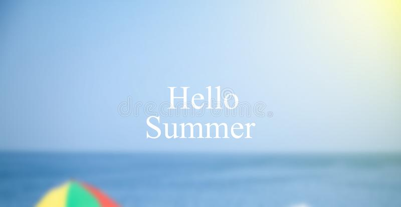 Hello summer text background, beach and sea royalty free stock photos