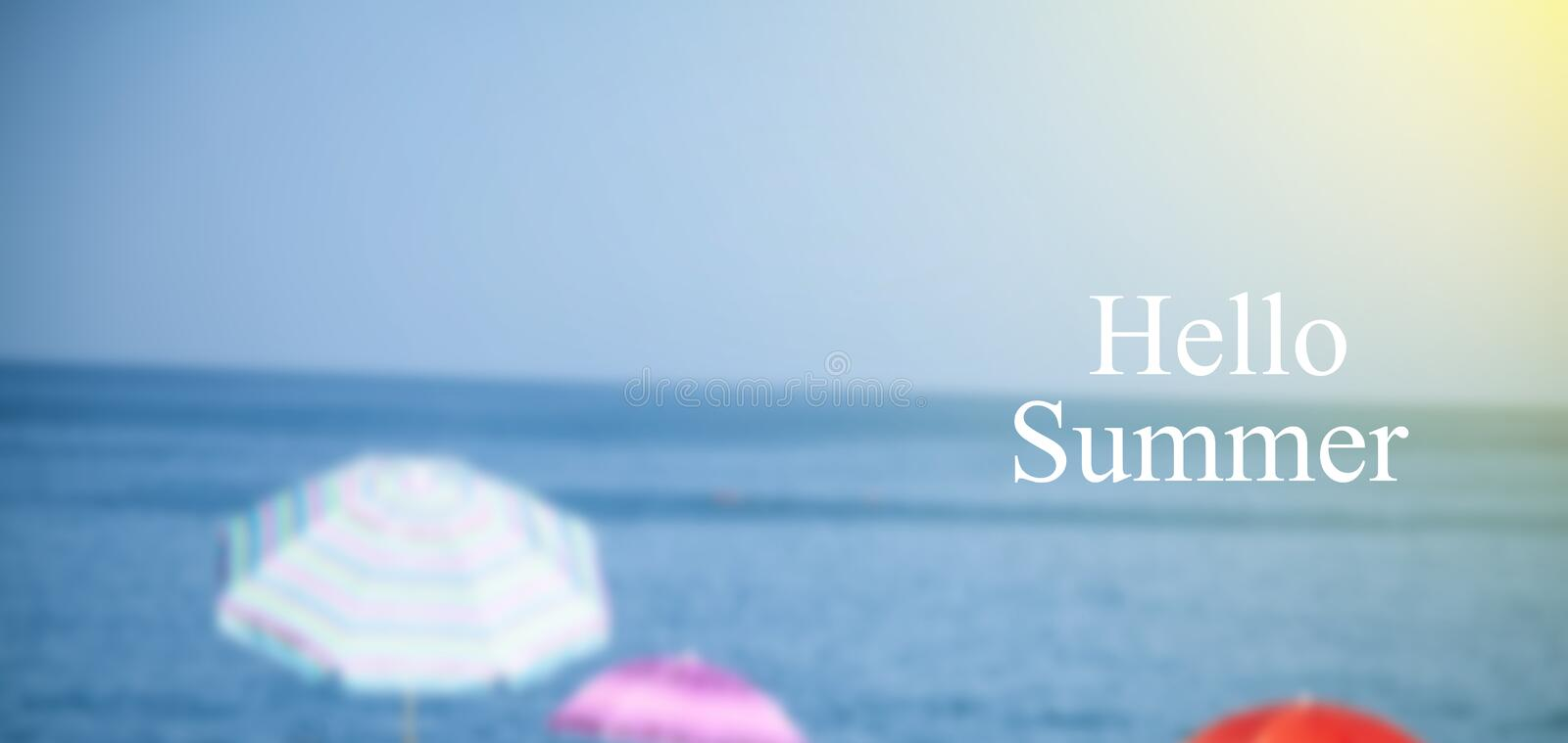 Hello summer text background, beach and sea stock photography