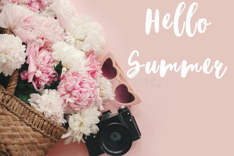 Hello Summer text sign on stylish photo camera, retro sunglasses, rustic bag with peonies on pastel pink paper. Summer vacation. And travel concept, girly image royalty free illustration