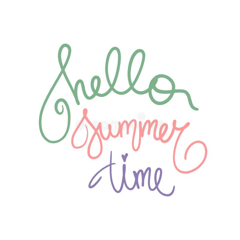 Hello Summer Time poster in green purple pink violet colors. Vector illustration summertime. Handwritten text for season holiday stock illustration
