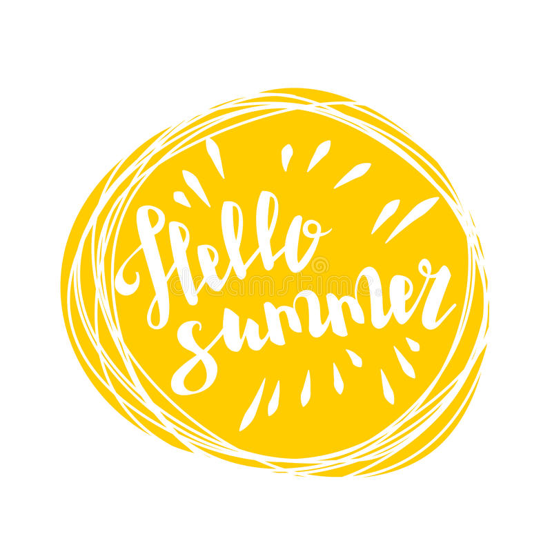 Hello Summer Time Sun Eco Bio Lettering Text Stock Vector