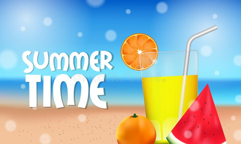Hello Summer time tropical outside beautiful beach with juice and tropical fruit on the sand. Horizontal poster banner stock illustration