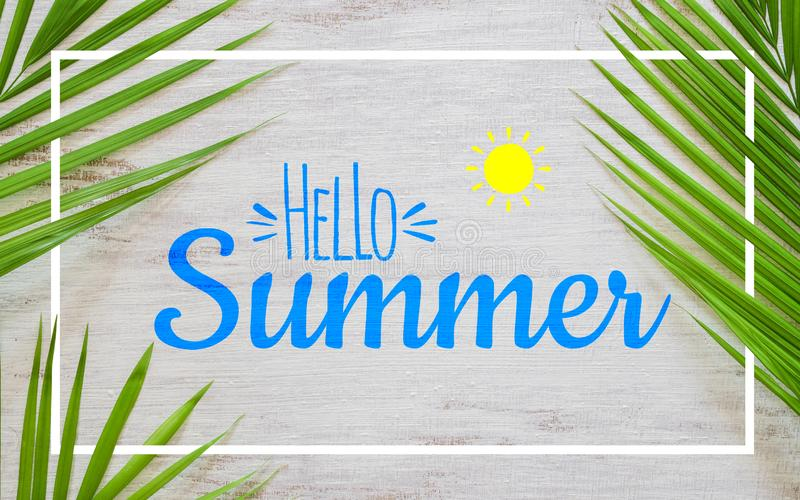 Hello summer travel vacation concept flat lay poster background concept. Hello Summer text on white wood background with green royalty free stock photography