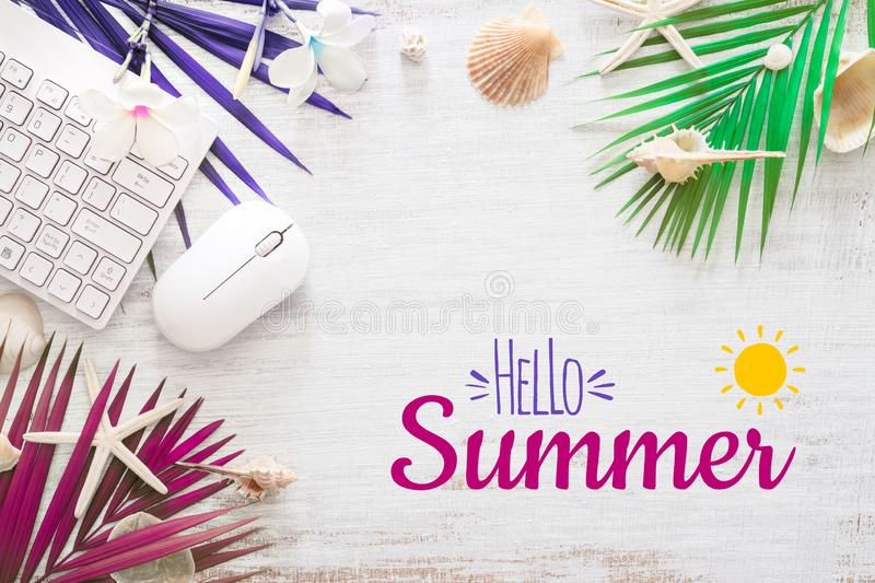 Hello summer travel vacation concept flat lay poster background concept. Hello Summer text on white wood background, wireless royalty free illustration