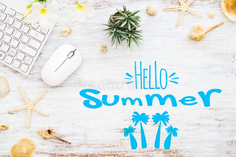 Hello summer travel vacation planning concept. Flat lay summer holiday poster background concept. Hello Summer text on white wood vector illustration