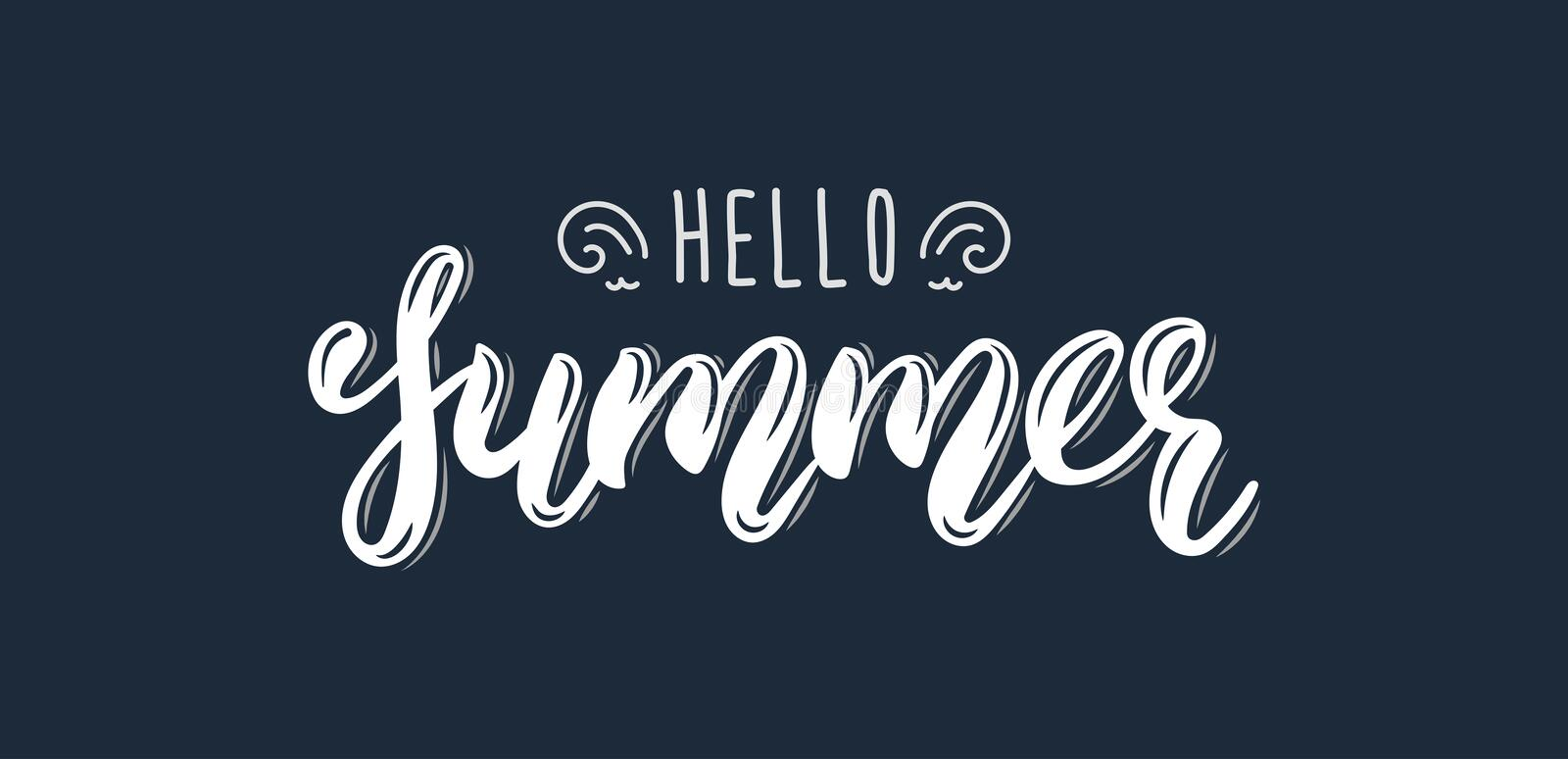 Hello Summer. Trendy hand lettering quote, fashion graphics, art print for posters and greeting cards design. Calligraphic isolate. Hello Summer. Trendy hand vector illustration
