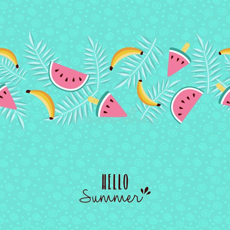 Elegant Download Hello Summer Tropical Fruit Pattern Greeting Card Stock Vector    Illustration Of Palm, Modern