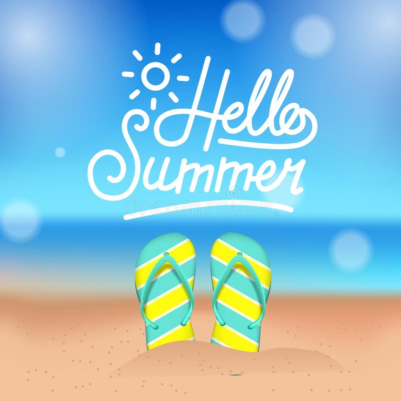 Hello Summer tropical outside beautiful beach with sandal on the sand. Square banner poster royalty free illustration