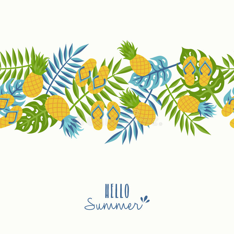 Hello Summer Tropical Pineapple Pattern Design Stock ...
