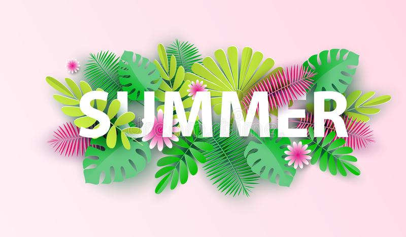 Hello summer typographic design with abstract forms of paper cutting and tropical leaves. Vector illustration. Hello summer typographic design with abstract stock illustration