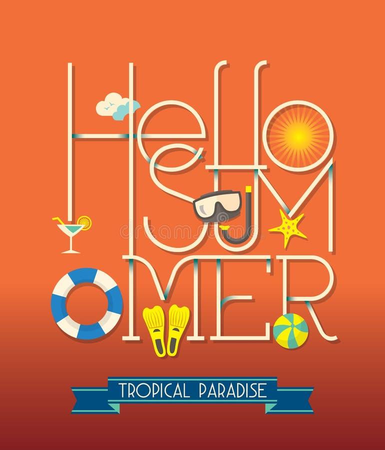 Hello Summer Typography Illustration stock illustration