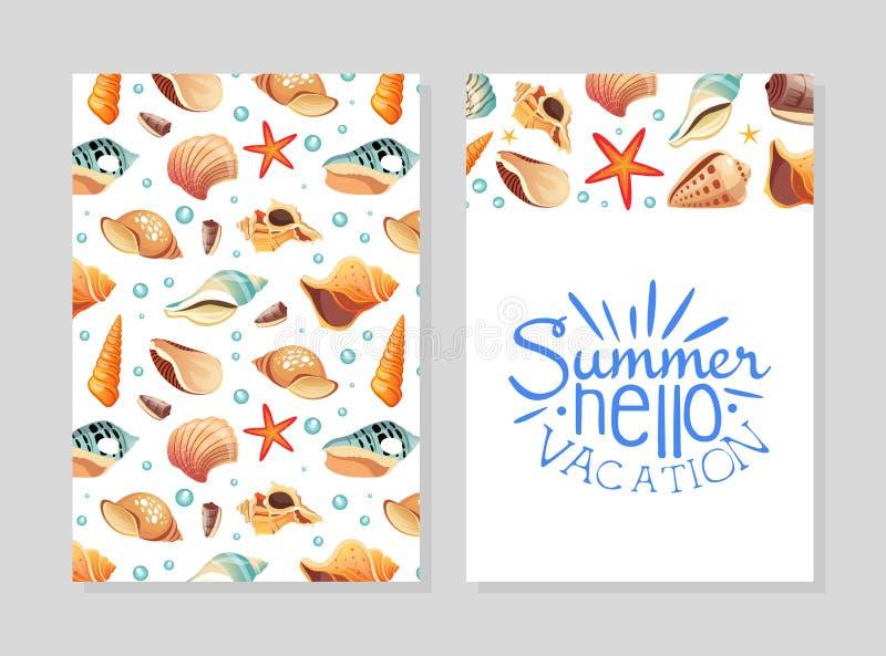 Hello Summer Vacation Card Template with Seashells, Design Element Может использоваться для меню, Packaging, Flyer, Certificate иллюстрация штока