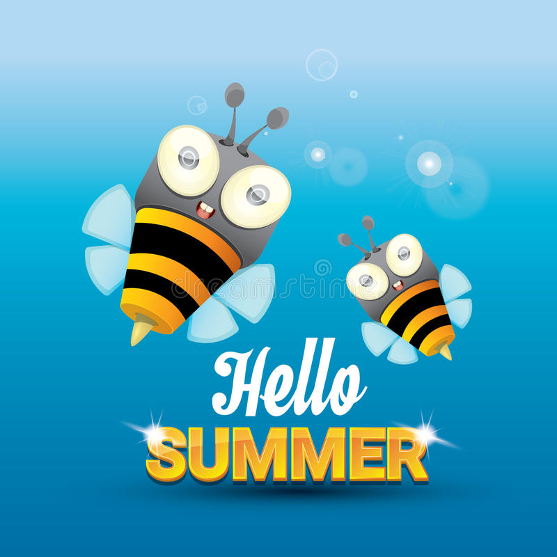 Bon Download Hello Summer Vector Background. Funny Cartoons Bee Stock  Illustration   Illustration Of Cute,